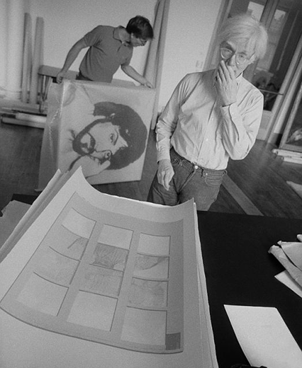Andy Warhol working in 'The Factory' in 1980