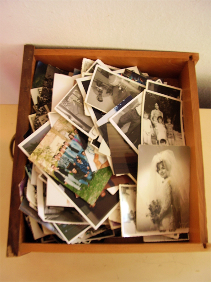 a box full of memorable photos