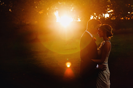 Wedding photography with a sunset in the background